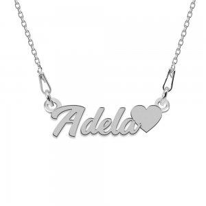 Colier Argint 925, Inimioara, Nume Adela, 45 cm